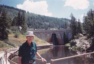 Don Bess at the Chapman Dam he helped build, circa 1980s?