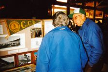 Charlie Burton discusses the CCC exhibit at Evergreen Earth Day.